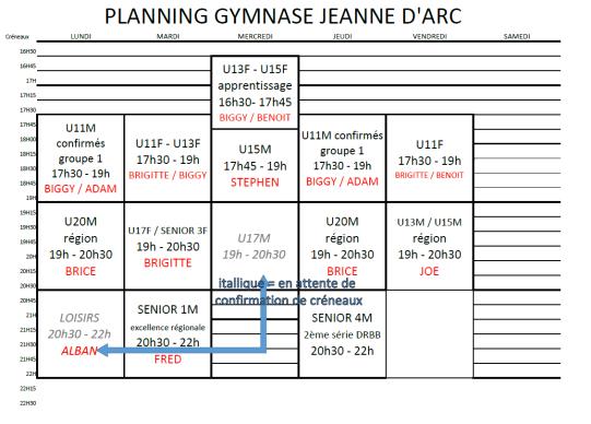 planning jeanne d'arc